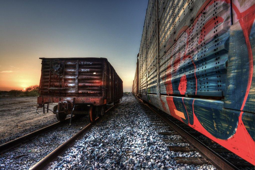 Rail Cars at Sunset